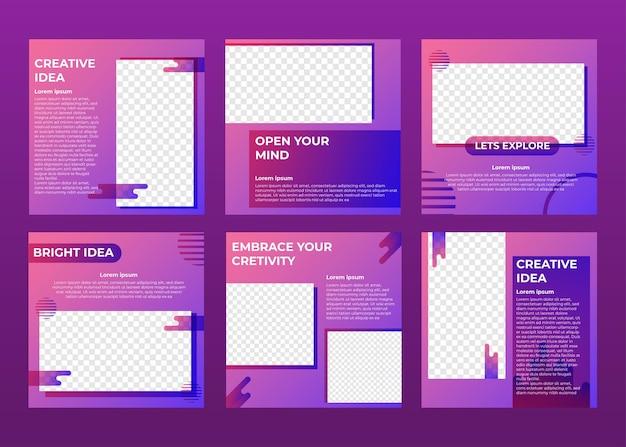 Modelo de postagem de mídia social de ideia criativa gradiente brilhante