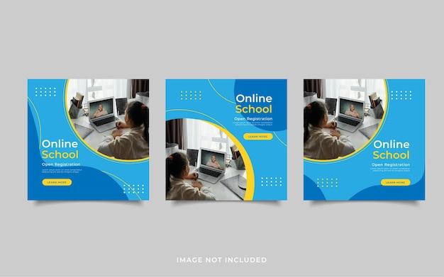 Modelo de postagem de mídia social de inscrição escolar online