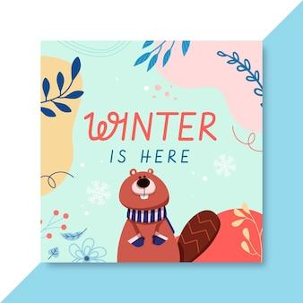 Modelo de postagem de mídia social de inverno desenhado à mão