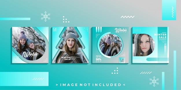 Modelo de postagem de mídia social de inverno