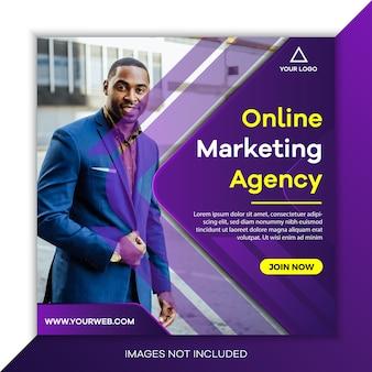 Modelo de postagem de mídia social de marketing de negócios criativos com cor roxa