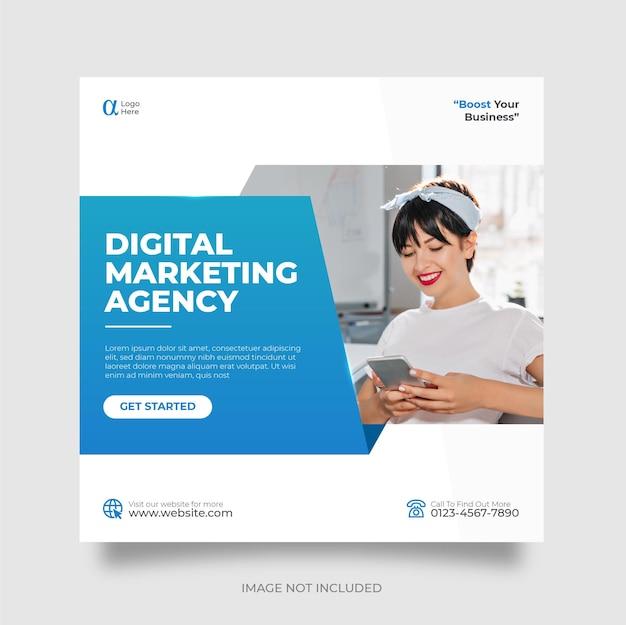 Modelo de postagem de mídia social de marketing de negócios digitais