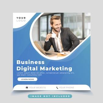Modelo de postagem de mídia social de marketing digital de negócios