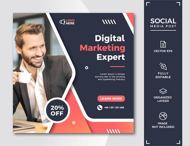 Modelo de postagem de mídia social de marketing digital.