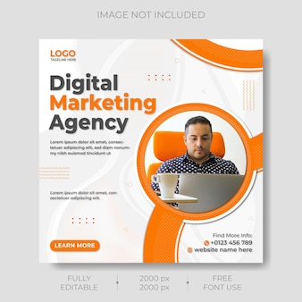 Modelo de postagem de mídia social de marketing empresarial digital premium vector