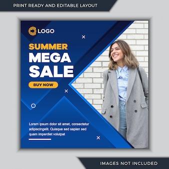 Modelo de postagem de mídia social de mega venda de verão.