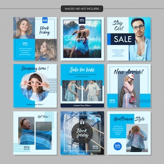 Modelo de postagem de mídia social de moda azul