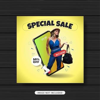 Modelo de postagem de mídia social de moda para venda especial