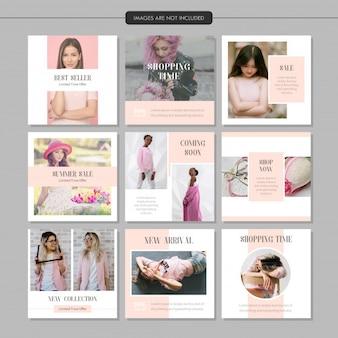 Modelo de postagem de mídia social de moda rosa