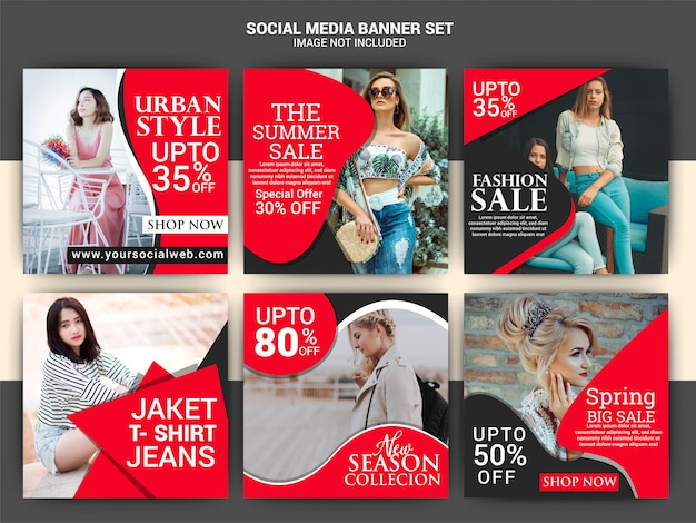 Modelo de postagem de mídia social de moda