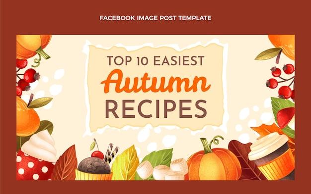 Modelo de postagem de mídia social de outono desenhado à mão