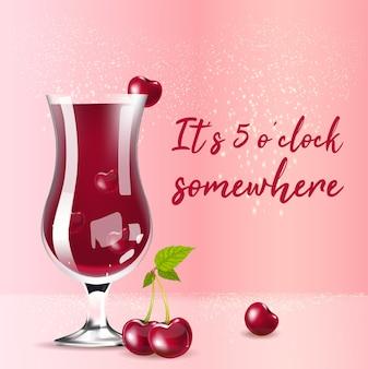 Modelo de postagem de mídia social de produto realista de compota de cereja. bebida de verão em design de maquete de anúncios 3d de vidro com texto. são 5 horas em algum lugar, layout de banner da web quadrado promocional