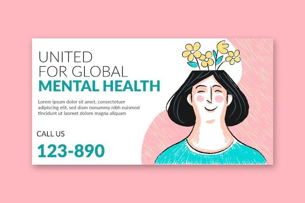 Modelo de postagem de mídia social de saúde mental desenhado à mão
