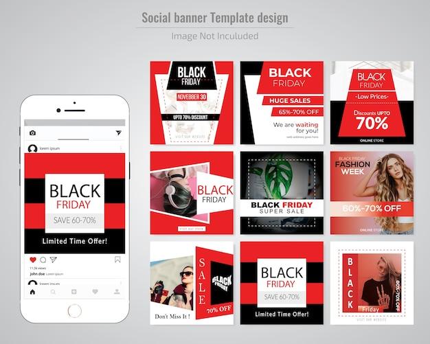 Modelo de postagem de mídia social de sexta-feira negra