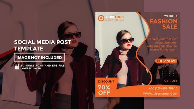 Modelo de postagem de mídia social de tema de moda