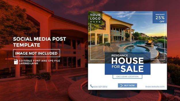 Modelo de postagem de mídia social de tema de vendas residenciais