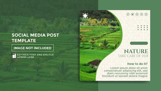 Modelo de postagem de mídia social de tema verde da natureza