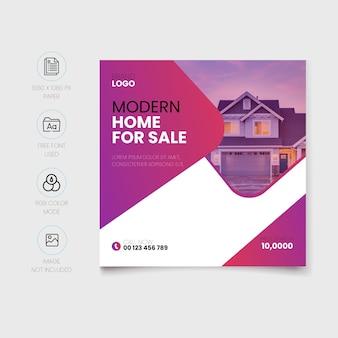 Modelo de postagem de mídia social de venda de casa moderna