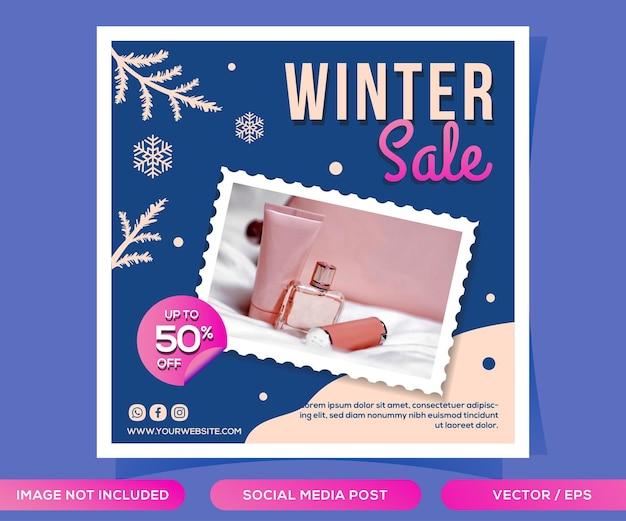 Modelo de postagem de mídia social de venda de inverno