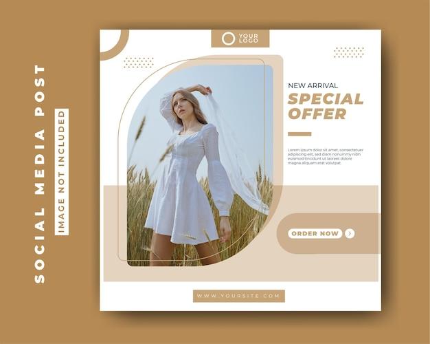 Modelo de postagem de mídia social de venda de moda minimalista