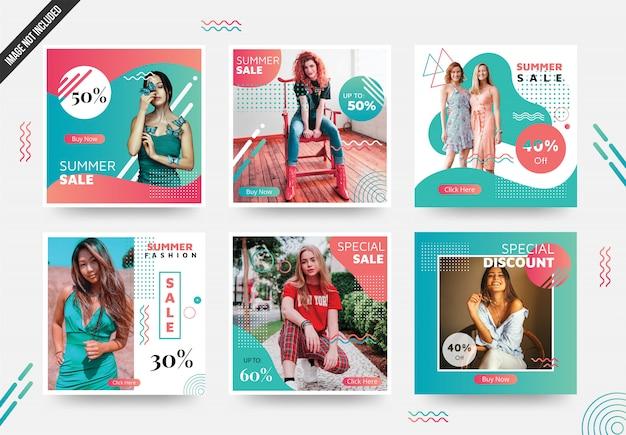 Modelo de postagem de mídia social de verão com cor exclusiva