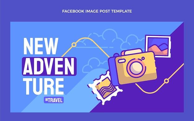 Modelo de postagem de mídia social de viagem desenhado à mão