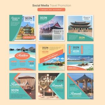 Modelo de postagem de mídia social de viagens de turismo