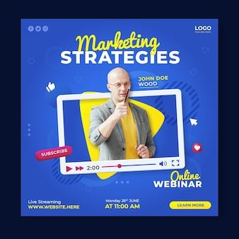 Modelo de postagem de mídia social de webinar de estratégias de marketing