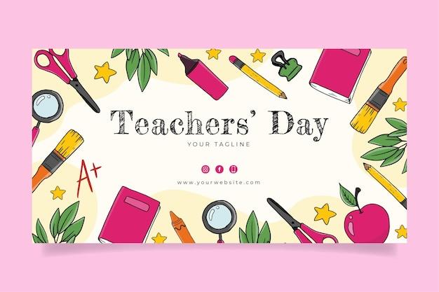 Modelo de postagem de mídia social desenhado à mão para o dia dos professores