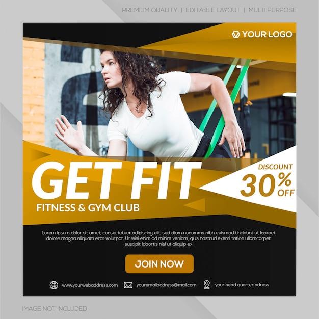 Modelo de postagem de mídia social do clube de ginástica