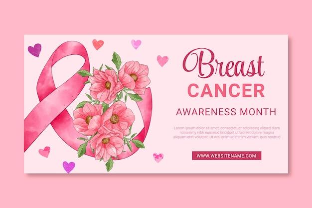 Modelo de postagem de mídia social do dia internacional em aquarela contra o câncer de mama