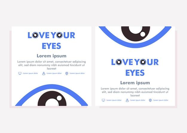 Modelo de postagem de mídia social do dia mundial da visão. postagem em mídia social para conceito de design de campanha de saúde ocular