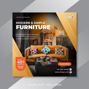 Modelo de postagem de mídia social do furniture Vetor Premium