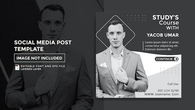 Modelo de postagem de mídia social do tema do curso