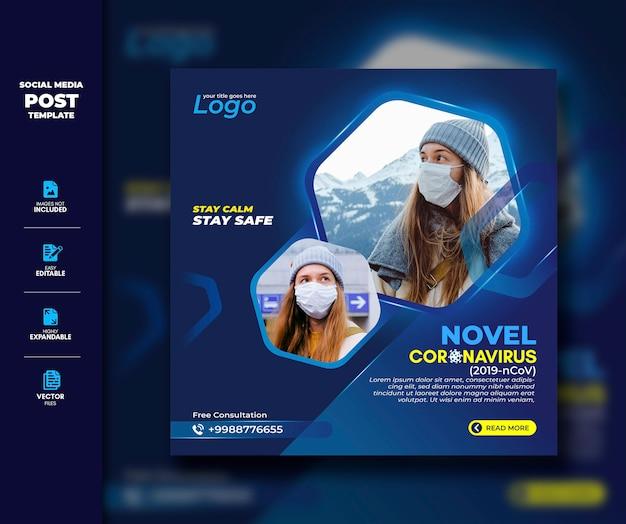 Modelo de postagem de mídia social do vírus corona para prêmio de conscientização social