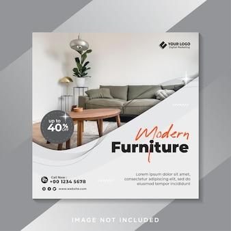 Modelo de postagem de mídia social e instagram do furniture