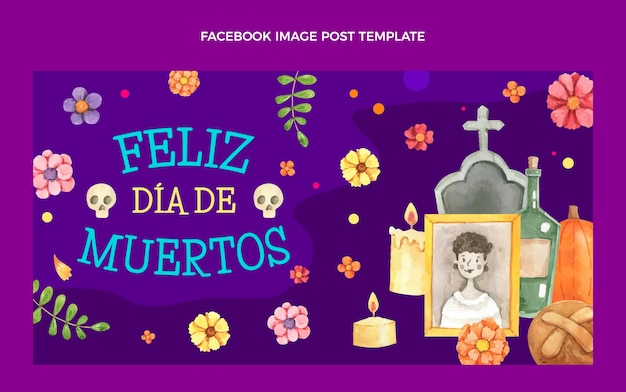 Modelo de postagem de mídia social em aquarela de dia de muertos