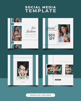 Modelo de postagem de mídia social em estilo moderno e minimalista para promoção de moda.