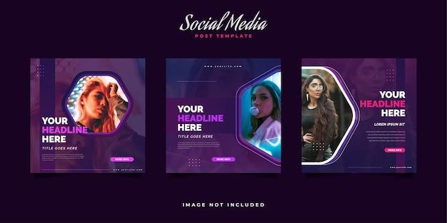 Modelo de postagem de mídia social em estilo moderno e vibrante para promoção de moda