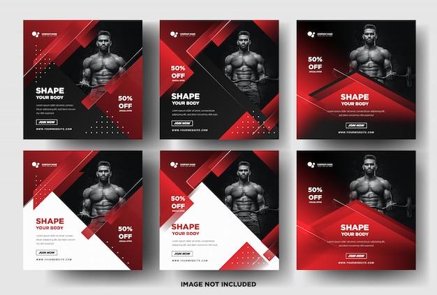 Modelo de postagem de mídia social. esportes de ginásio. cor vermelha elegante