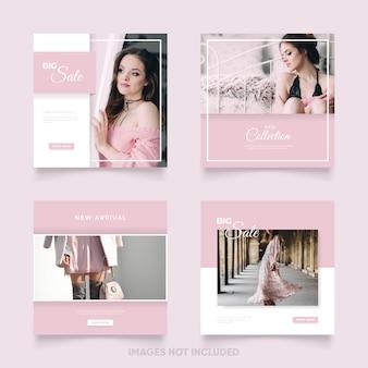 Modelo de postagem de mídia social feminina com cor rosa