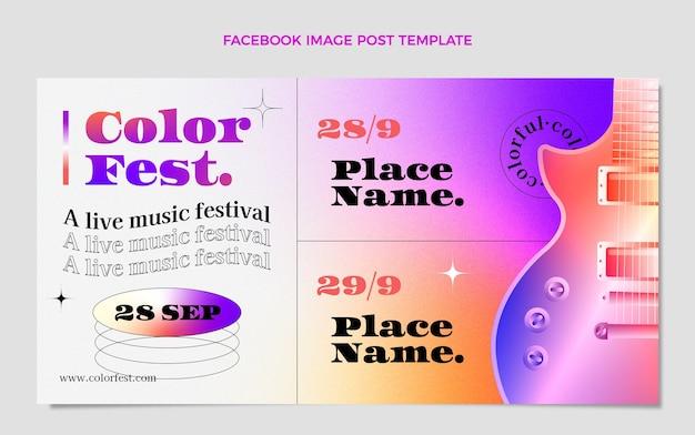 Modelo de postagem de mídia social gradiente colorido para festival de música