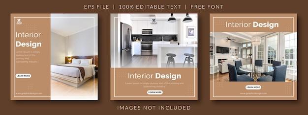 Modelo de postagem de mídia social instagram de design de interiores e móveis