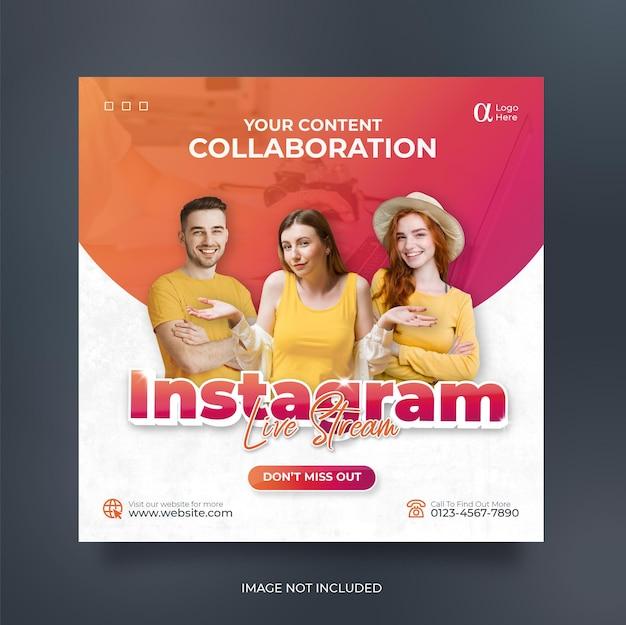 Modelo de postagem de mídia social instagram para workshop de streaming ao vivo