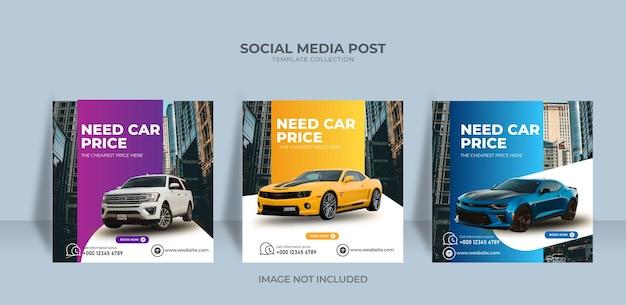 Modelo de postagem de mídia social moderna para aluguel de automóveis