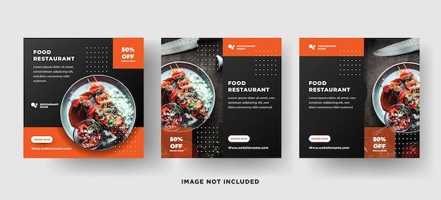 Modelo de postagem de mídia social moderna. restaurante de comida com cor laranja preto