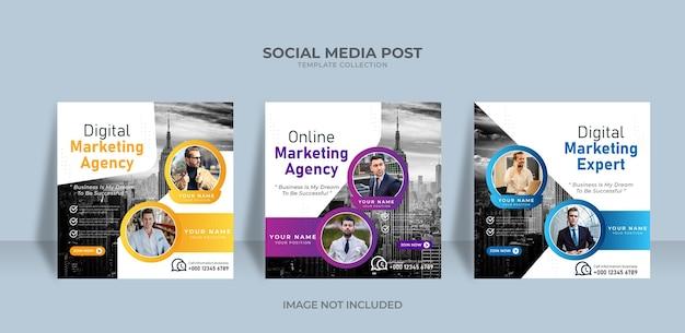 Modelo de postagem de mídia social para agência de marketing online