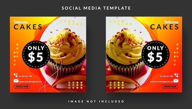 Modelo de postagem de mídia social para bolos deliciosos e culinária