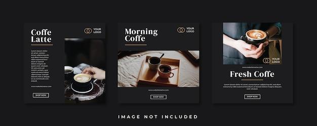 Modelo de postagem de mídia social para café