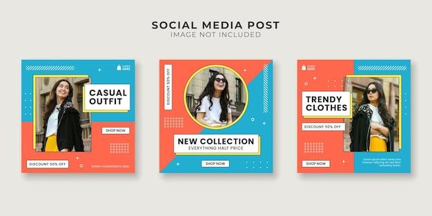 Modelo de postagem de mídia social para loja de moda
